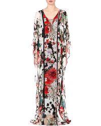 Roberto Cavalli Floralprint Silk Kaftan Multi  Red - Lyst