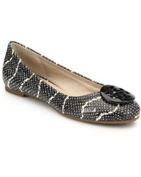 Tory Burch Mojave Snake-Embossed Leather Logo Flats - Lyst