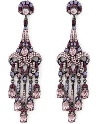 Jose & Maria Barrera Purple Crystal Drop Earrings purple - Lyst