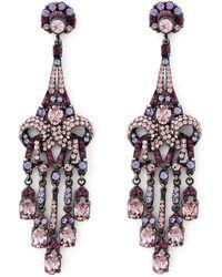 Jose & Maria Barrera Purple Crystal Drop Earrings - Lyst