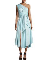 Tibi Satin Poplin One-Shoulder Wrap Dress - Lyst