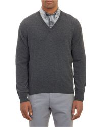 Barneys New York Cashmere V-Neck Pullover Sweater - Lyst