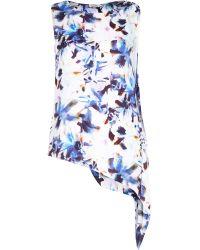 River Island Blue Floral Print Asymmetrical Loose Top - Lyst