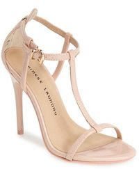 Chinese Laundry 'Leo' Patent T-Strap Sandal pink - Lyst