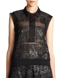 Rebecca Taylor Silk Foiled Lace-Striped Sheer Top - Lyst