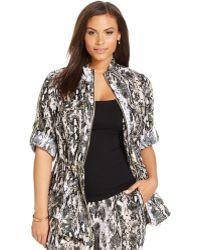 Calvin Klein Plus Size Linen Snakeskin-Print Utility Jacket beige - Lyst