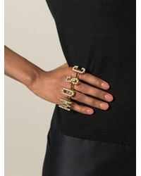 Moschino - Logo Knuckle Rings - Lyst