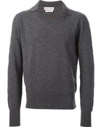 Michael Bastian Spread Colar Ribbed Crew Neck Sweater - Lyst