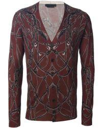 Alexander McQueen Vine Print Cardigan red - Lyst