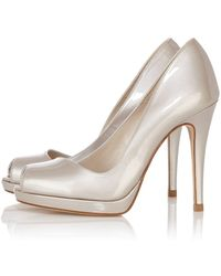 Karen Millen Leather Patent Peep Toe Heel - Lyst