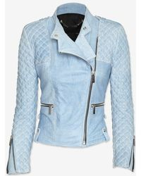 Barbara Bui Moto Leather Jacket Blue Jean - Lyst