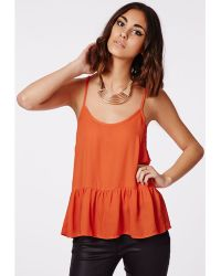 Missguided Della Dropped Peplum Cami Top Orange - Lyst