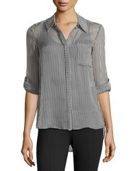 Diane Von Furstenberg Skinny-striped Blouse W Pocket - Lyst