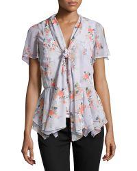 Zac Zac Posen Floral-print Flutter Tie Blouse - Lyst