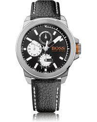 BOSS Orange - Multifunction Watch With A Leather Strap: 'new York' - Lyst