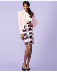 Nine West Sateen Geo-Print Pencil Skirt - Lyst