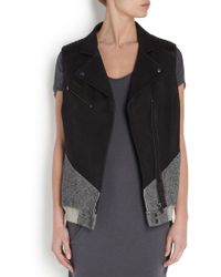 Francis Leon - Black And Grey Sideswipe Leather And Jersey Jacket - Lyst