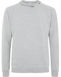Saint Laurent Zip Neck Sweater gray - Lyst