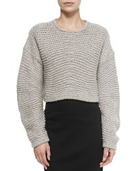 Helmut Lang Cropped Soft Grid-pattern Pullover - Lyst