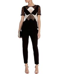 Karen Millen Lace Panel Top - Lyst