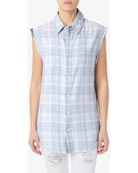 Hudson Sleeveless Button Up Shirt blue - Lyst