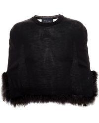 Simone Rocha Merino-Wool Feather-Embellished Cape black - Lyst