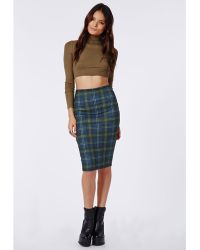 Missguided Edern Tartan Print Scuba Midi Skirt Navy - Lyst