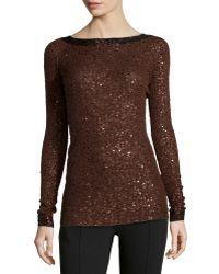 Donna Karan New York Cashmere-Silk Sequined Sweater - Lyst