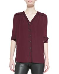 Vince Silk Contrast-piping Blouse - Lyst