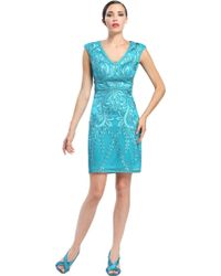 Sue Wong Floral Embroidered Dress - Lyst