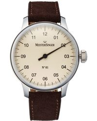 Meistersinger - 'no.01' Hand Wound Single Hand Leather Strap Watch - Lyst