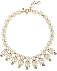 J.Crew | Royal Goldtone Faux Pearl and Cubic Zirconia Necklace | Lyst