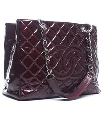 Chanel Preowned Bordeaux Patent Gst Grand Shopper Tote - Lyst