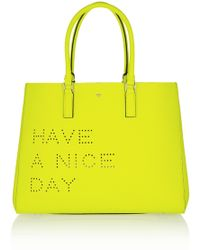 Anya Hindmarch Ebury Maxi Featherweight Neon Textured-leather Tote - Lyst
