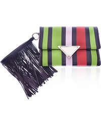 Sara Battaglia Black Stripe Medium Teresa Clutch - Lyst