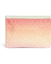 Mischa | 'travel Clutch' In Gradient Seigaiha Wave Hexagon Print | Lyst