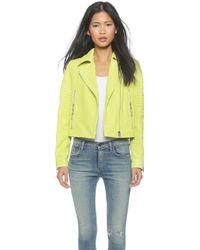 J Brand Aiah Leather Jacket - Lime Sherbert - Lyst