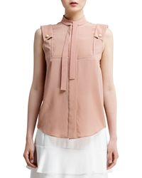 Chloé Sleeveless Silk Crepe De Chine Blouse - Lyst