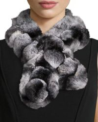 Belle Fare - Rex Rabbit Fur Pompom Neck Warmer - Lyst