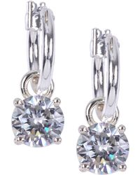 Anne Klein - Crystal Drop Hoop Earrings - Lyst
