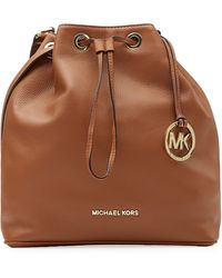 MICHAEL Michael Kors Textured Leather Drawstring Satchel - Lyst