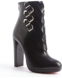 Christian Louboutin Black Leather Buckle Weave Detail Heel Boots - Lyst