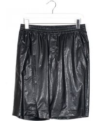 MSGM Eco Leather Black Shorts black - Lyst
