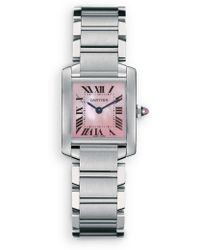 Cartier Tank Francaise Small Pink Mother-Of-Pearl & Stainless Steel Bracelet Watch - Lyst