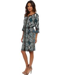 Adrianna Papell Colored Snake Skin Placement Print Dress W Leather Belt - Lyst