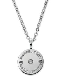 Michael Kors Silvertone Logoetched Pavè Small Disc Pendant Necklace - Lyst