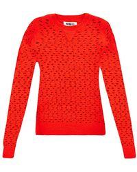 MM6 by Maison Martin Margiela Holed Wool Sweater - Lyst
