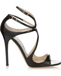 Jimmy Choo Fiscal Strappy Woven Leather Sandal black - Lyst