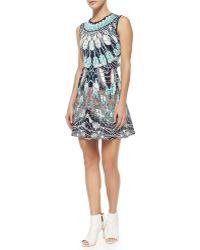 BCBGMAXAZRIA Wilma A-Line Feather-Print Dress - Lyst