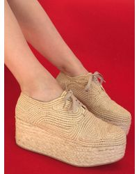 Robert Clergerie | Pinto Raffia Platform Sneaker, Natural | Lyst